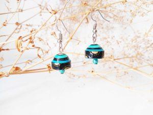 Boucles d'oreilles Quilling - Cloche bleue