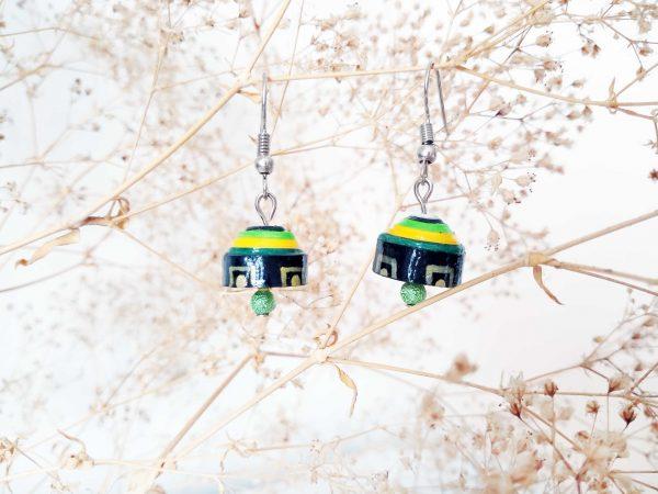 Boucles d'oreilles Quilling - Cloche verte