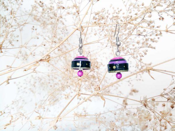 Boucles d'oreilles Quilling - Cloche violette 2