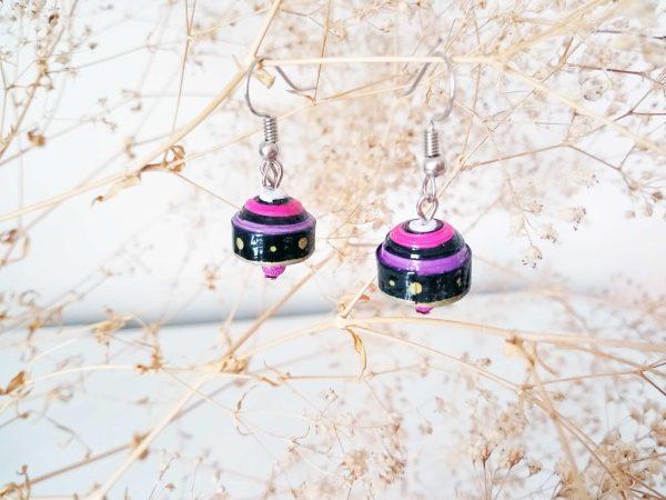 Boucles d'oreilles Quilling - Cloche violette