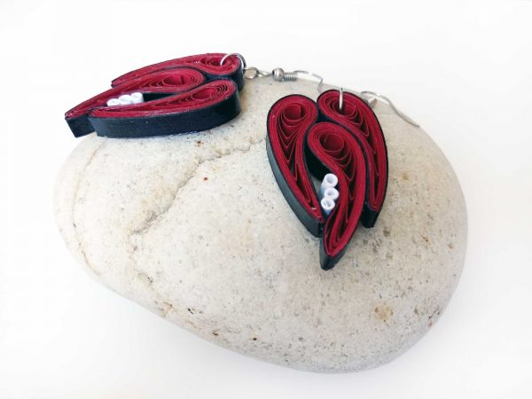 Boucles d'oreilles Quilling - Feuilles abstraites rouges
