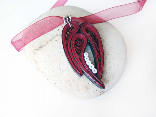 Collier Quilling - Feuilles abstraites rouges