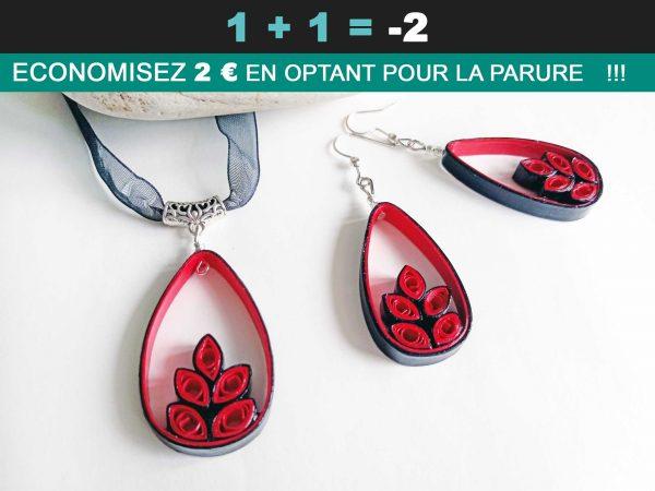 Soldes-Parure-Quilling-Goutte-végétale-rouge-floralycreations