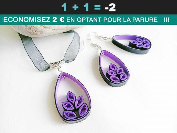 Soldes-Parure-Quilling-Goutte-végétale-violette-floralycreations